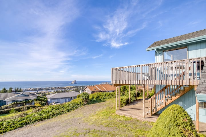 Stunning Ocean, Bay, and River Views From this Pacific City Hillside Haven with Bonus Room!
