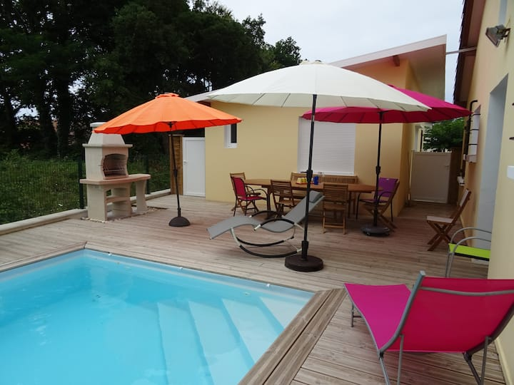 VIEUX BOUCAU, nice villa with heated pool
