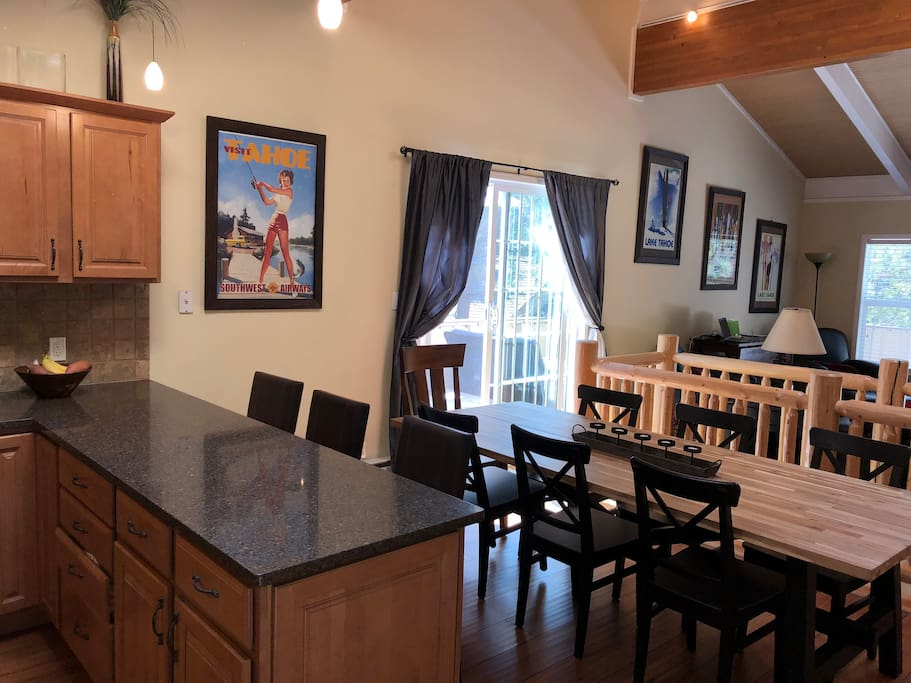 Easy access from the kitchen and dining to the BBQ and deck. We keep the kitchen well stocked: check it out before you head to Raley's as there are often lots of $$$ saving essentials (coffee, tea, condiments, spices, cleaning supplies, laundry, etc.).