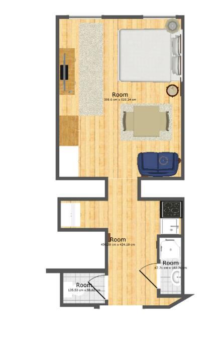 Grundriss des Apartments. Plan of the studio.