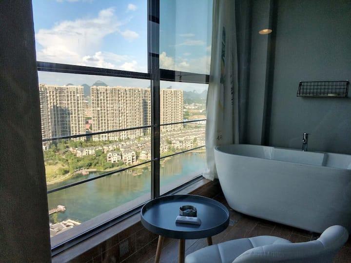 临桂区市政府近机场麓湖国际高空观湖浴缸房可做饭好停车