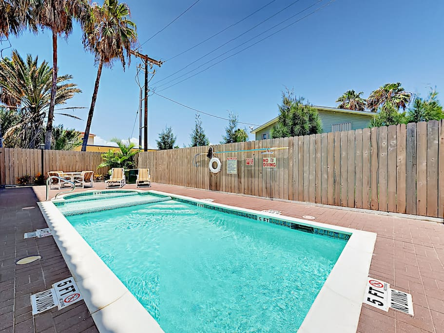 The complex pool also features a hot tub and kiddie pool