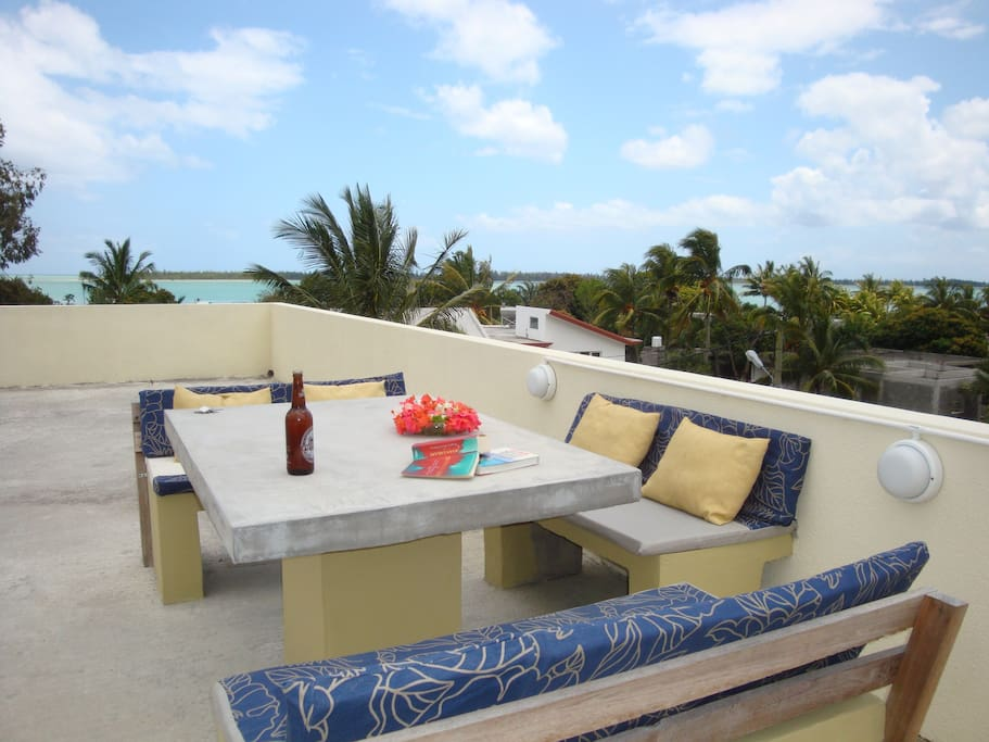 All studios ahave access to our roof terrace with giant sun beds and BBQ area.