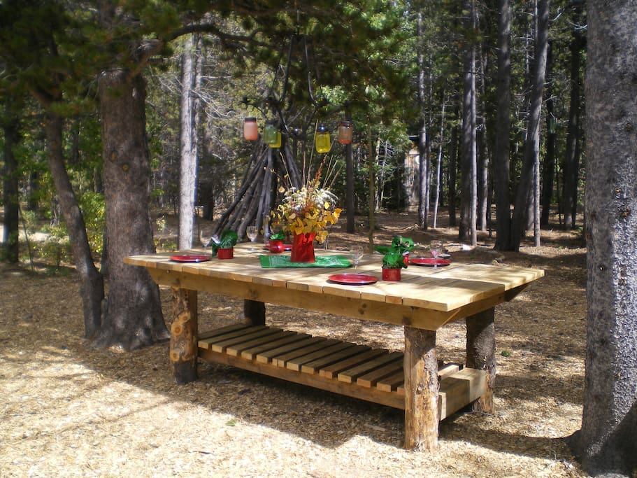 Gather round for a rustic outdoor dining experience.
