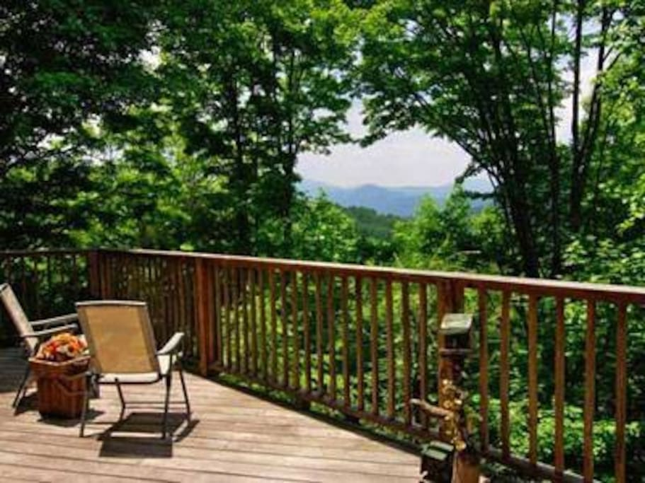 A mountain range view from the deck.