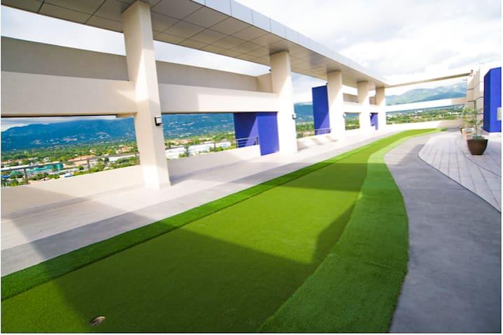 Mini golf on rooftop terrace