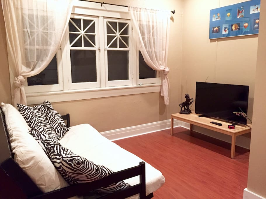 Living room with futon and TV