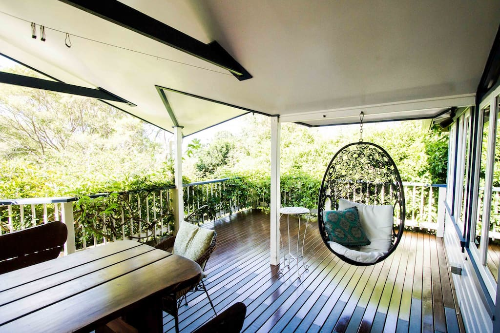 Large back verandah with dining table for up to 10