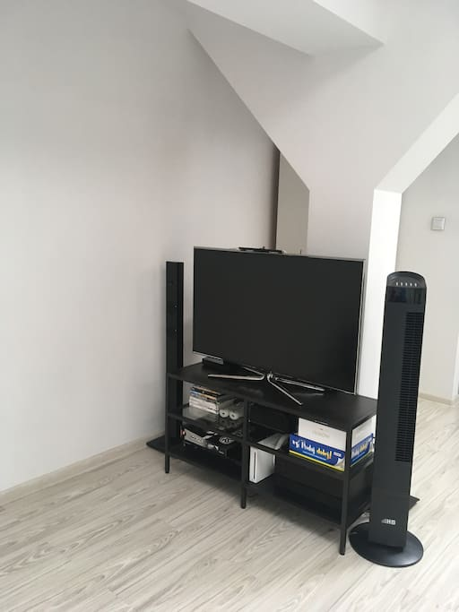tv with wii games and aircooler