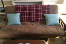 Futon with feather bed for guest bed
