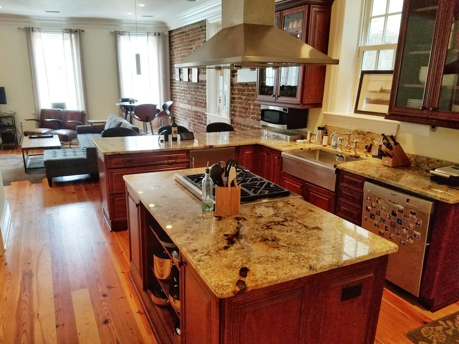 Kitchen overlooking living area