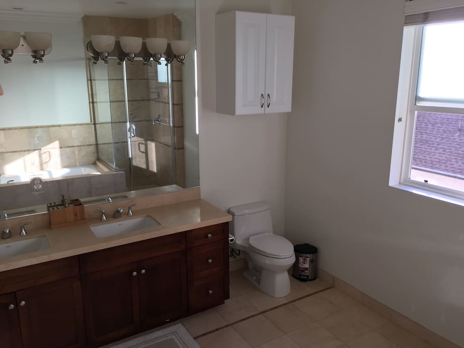 Huge bathroom with standing shower and separate tub