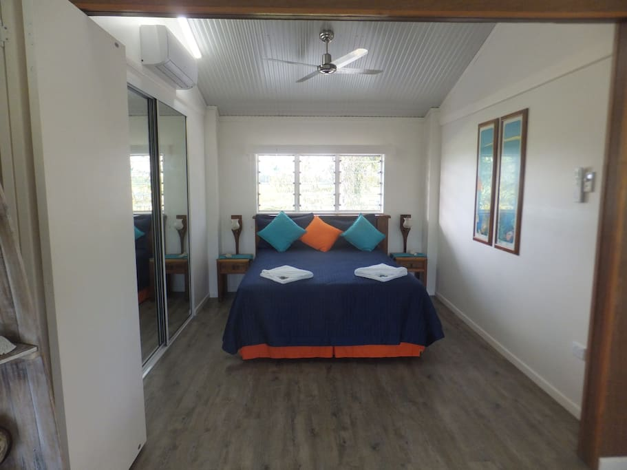 The bedroom with a view of the river