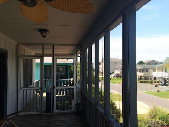 front porch looking toward the ocean
