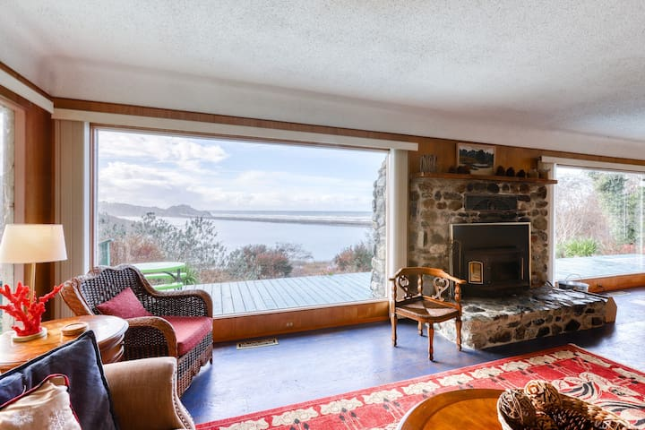 Dog-friendly, waterfront home w/private deck, ocean views, & Ping-Pong table