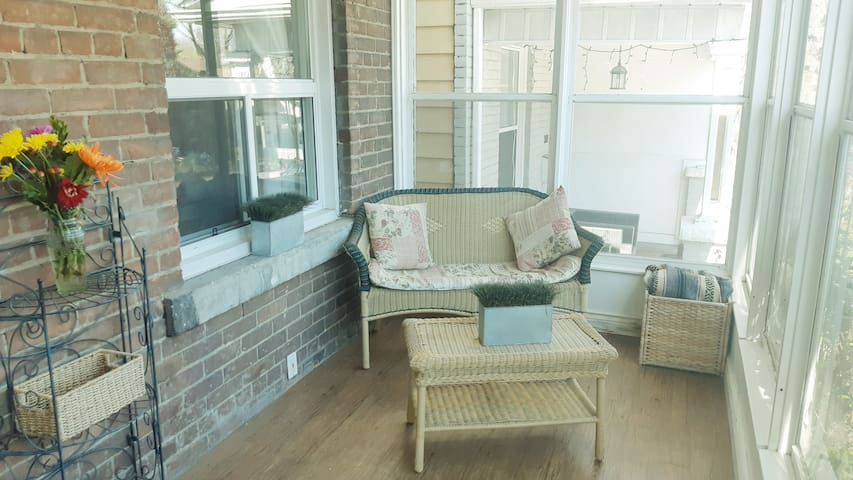Cozy and sunny front porch