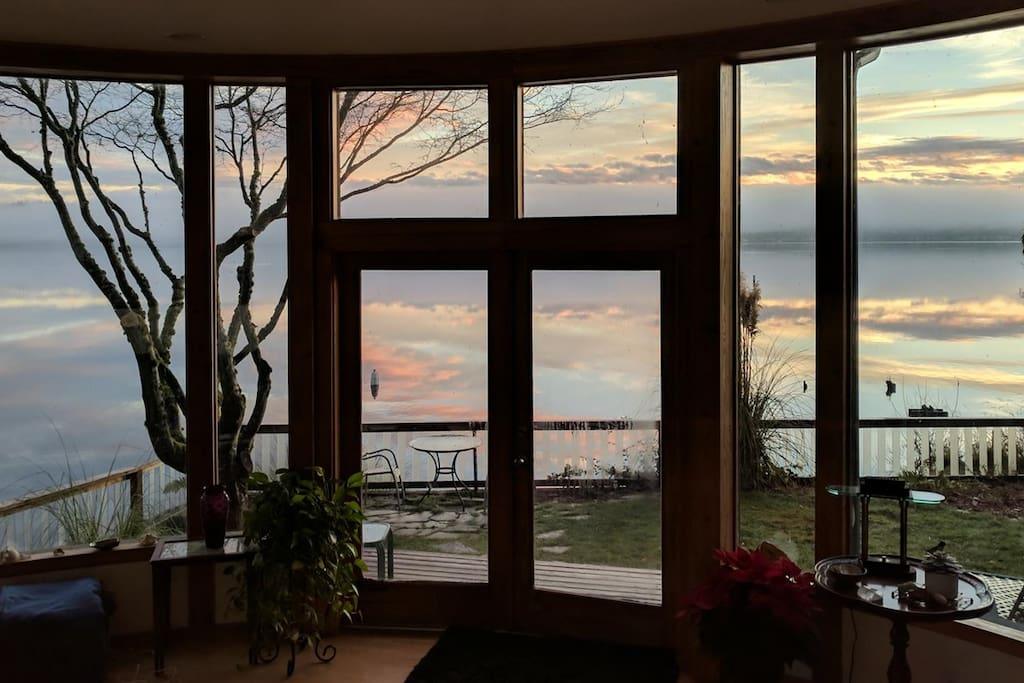 Winter sunrise from the living room.