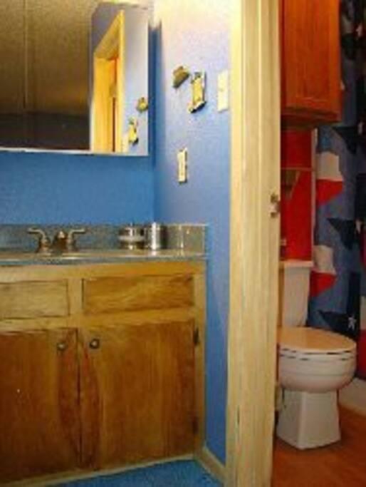 Private granite vanity sink and shower