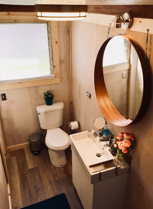 Bathroom with toilet, sink, shower