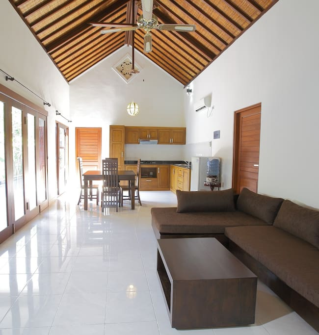 Indoor living and kitchen (with aircon)