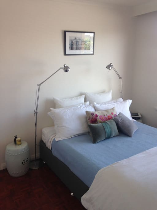 Bedroom with comfortable queen size bed and ensuite leading off the room