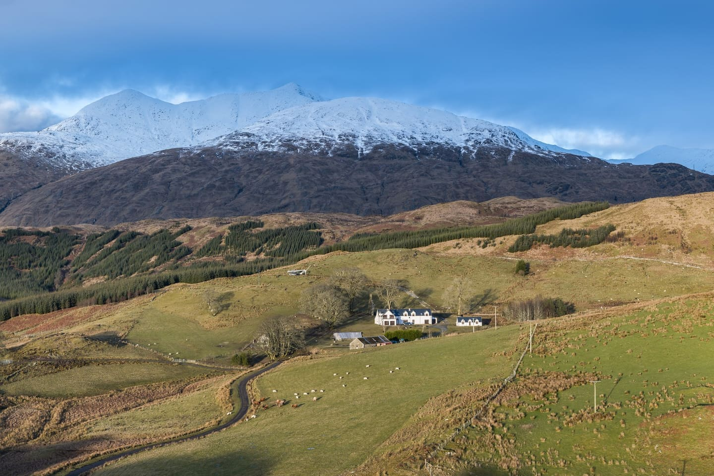 Ballimore House and Cottage with Ben Cruachan as their impressive backdrop