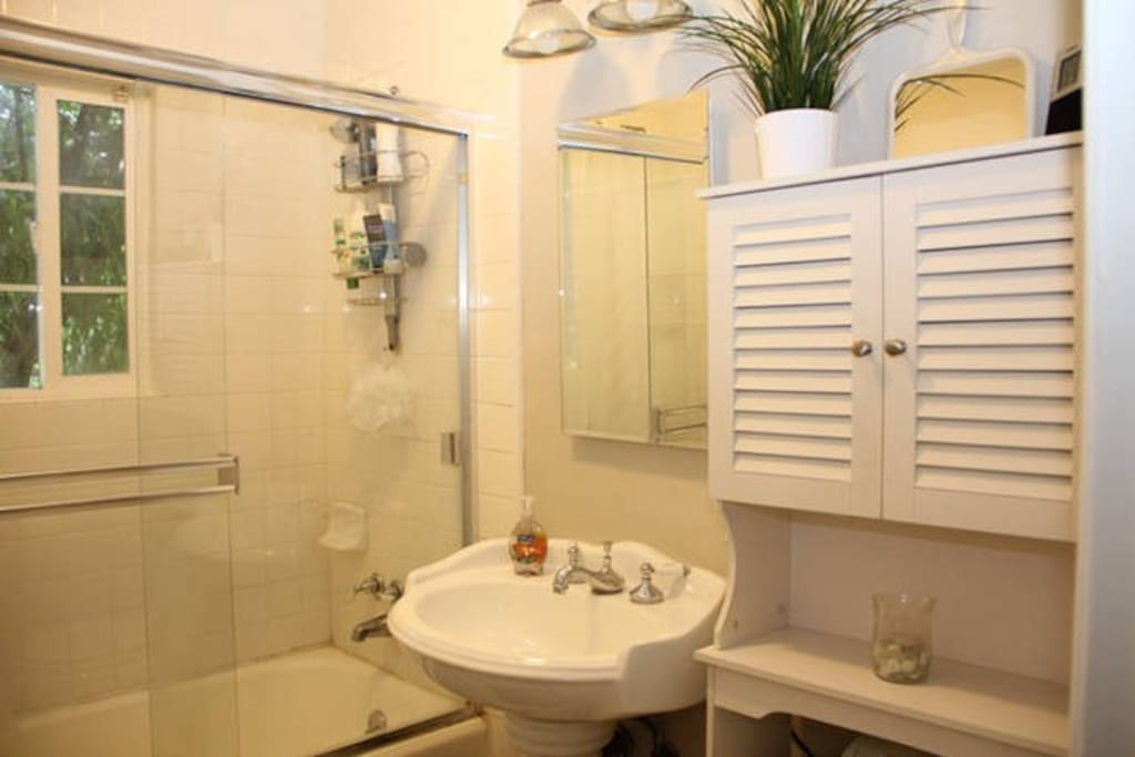 Shared bathroom right outside bedroom.
