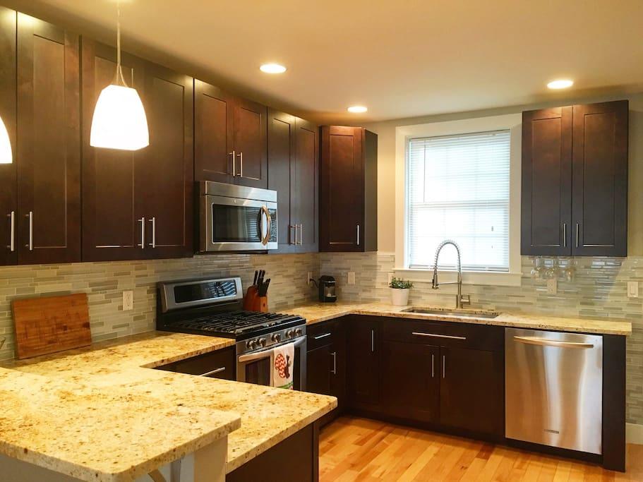 Large, clean kitchen.