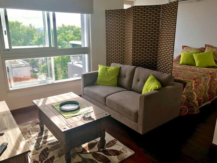 Living y dormitorio