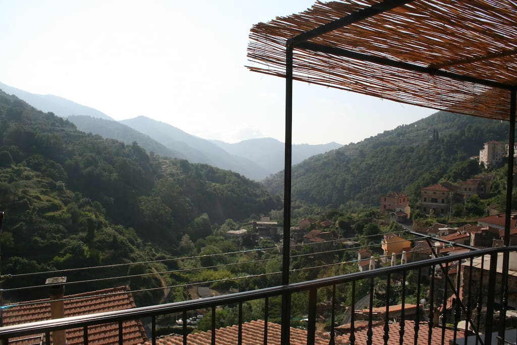 View from terrace, which comes equipped with a barbecue, table for six and outdoor shower.