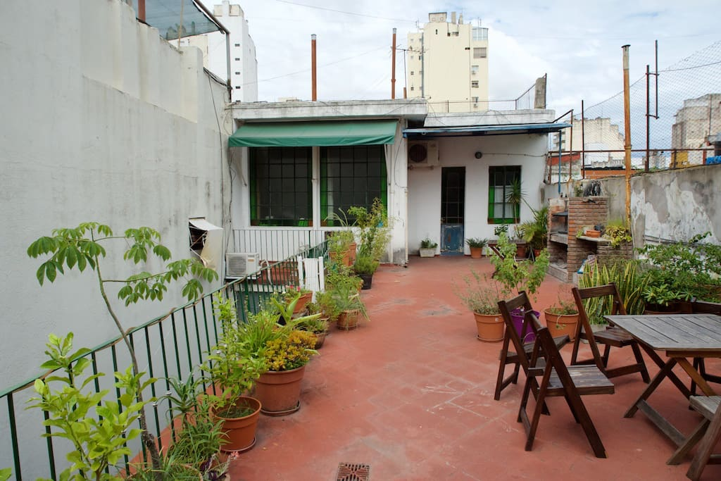 View of apartment from the terrace with plants