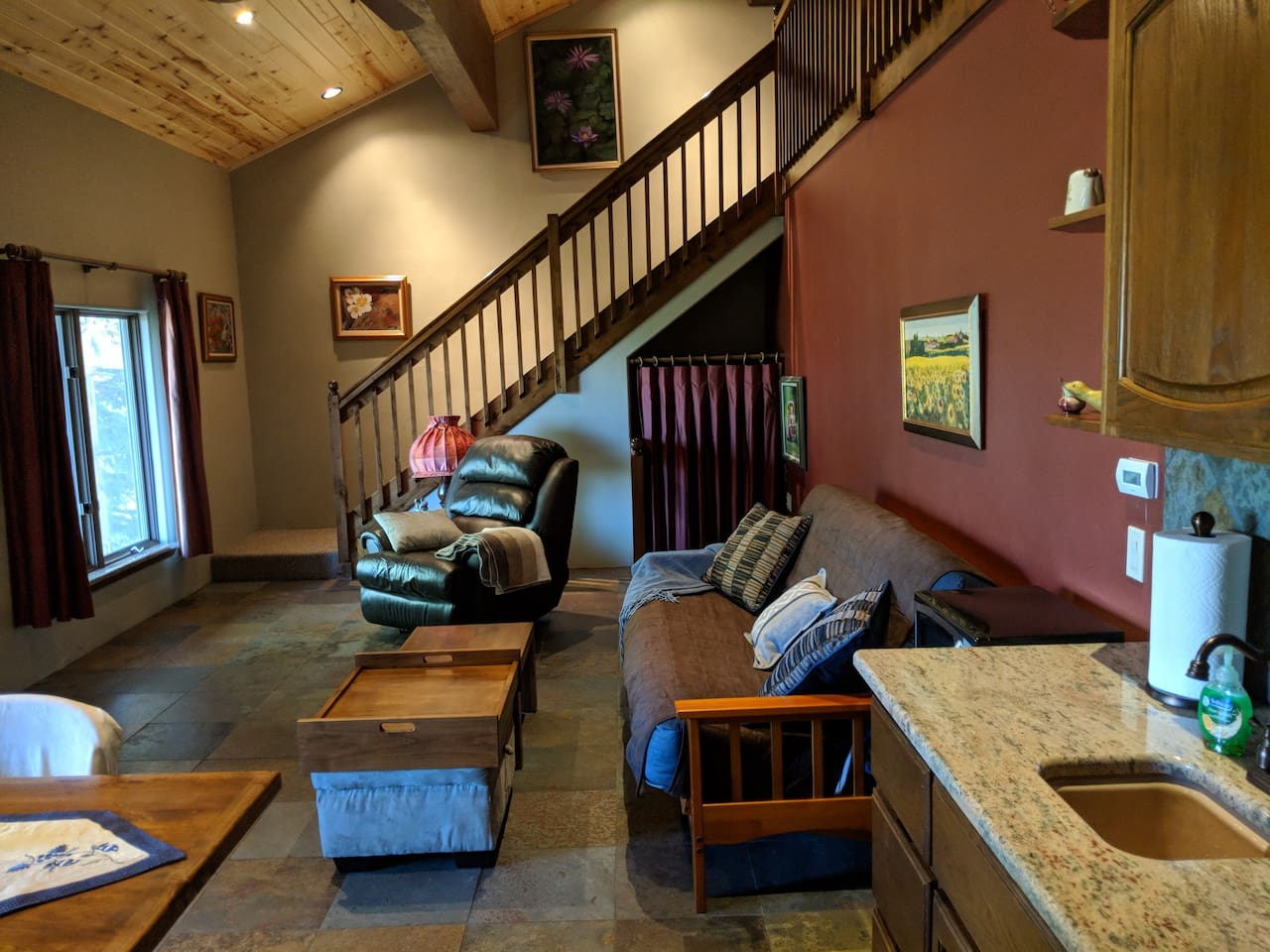 Downstairs of loft.  View from the kitchenette.  The couch is a futon.