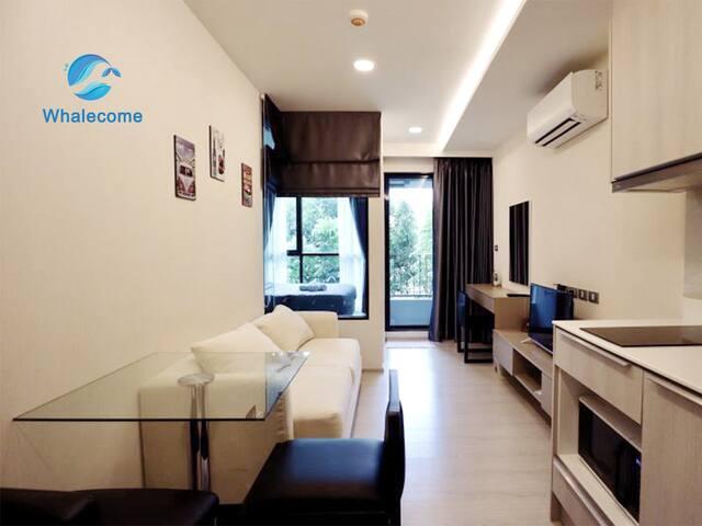 曼谷日本富人区Luxury Condo&New 1 bdrm&泳池健身房&日式花园【308】