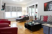 The living room offers plenty of seating for you and your guests.