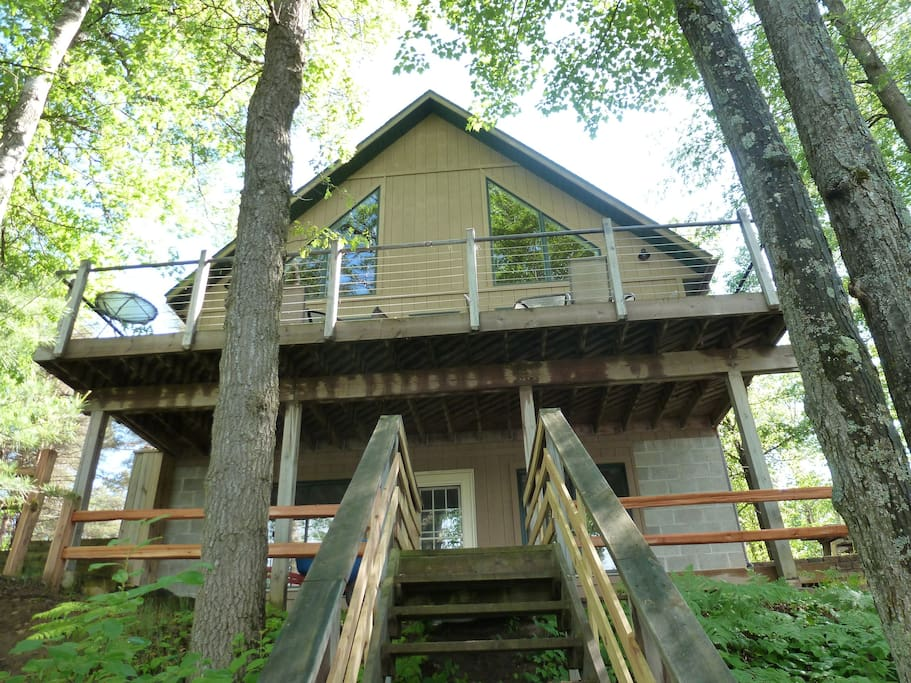 Close up view of the home facing the lake