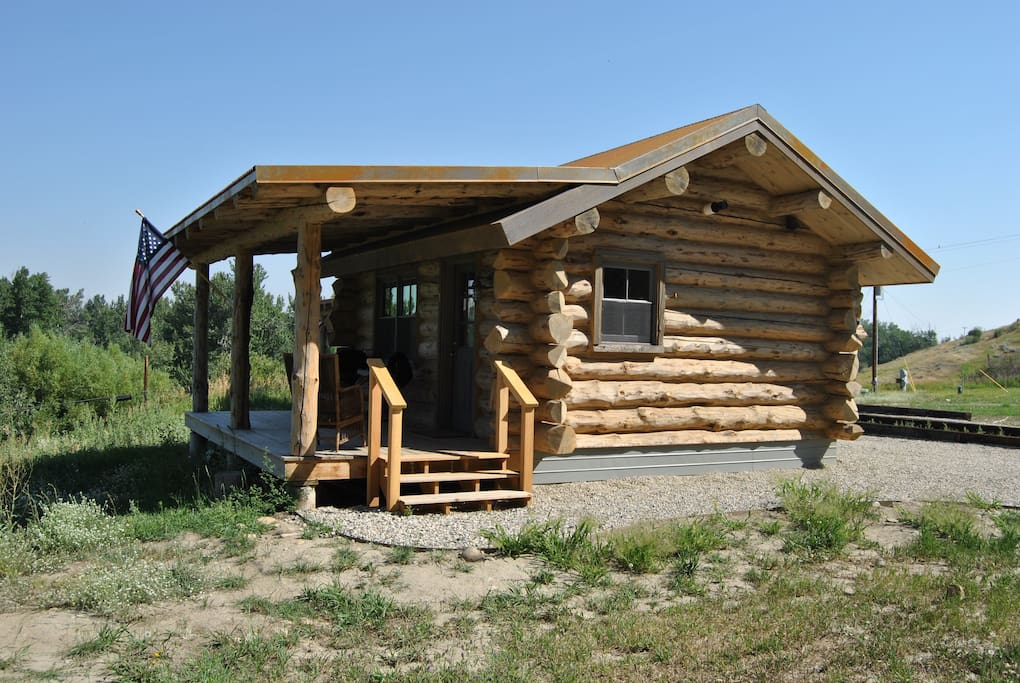 Authentic hand-hewn log cabin