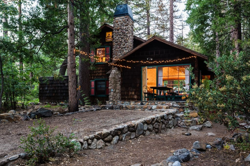 The owl pine historic property on creek in town cabins for Airbnb cabins california