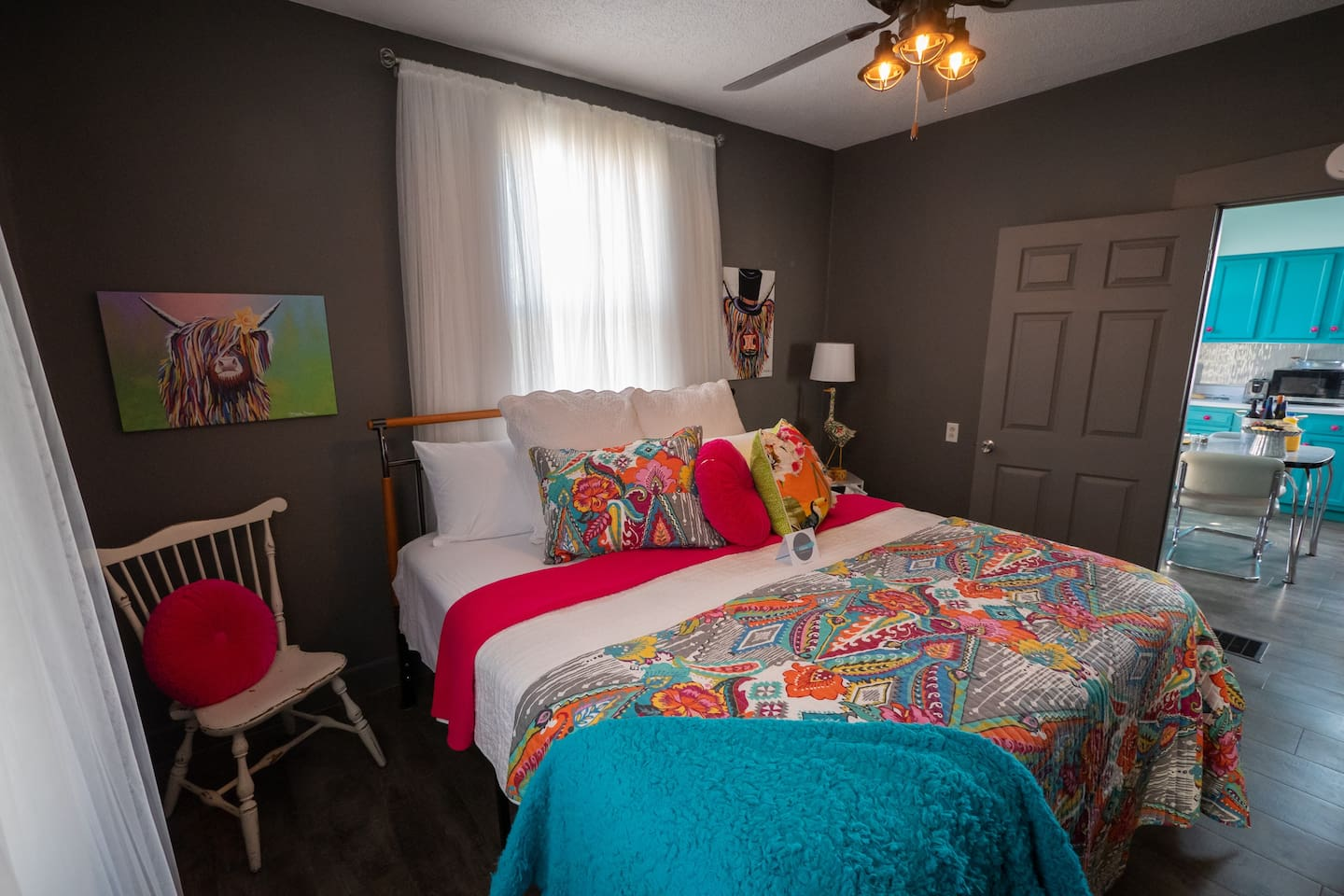 Welcome to The Shanty on 5th! The fabulous King Bed is sure to be a fav!