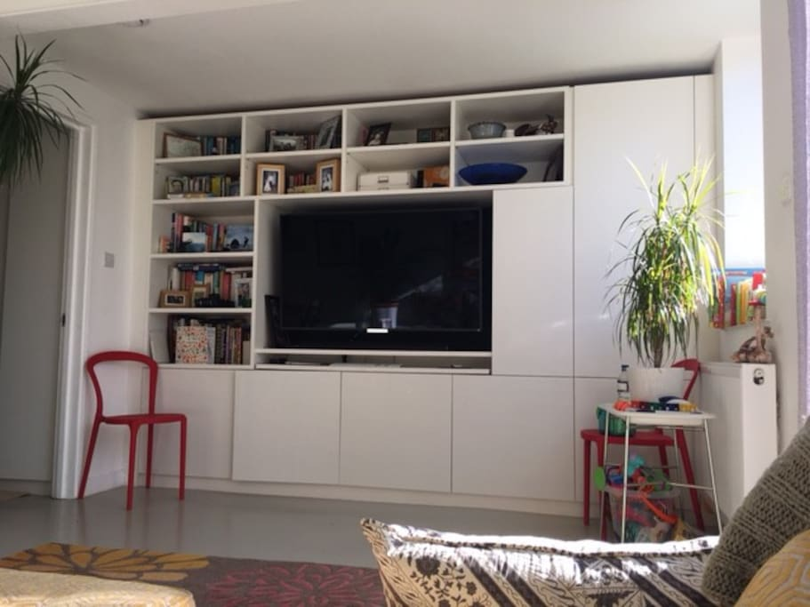 55-inch television within the bookshelf and entertainment centre.
