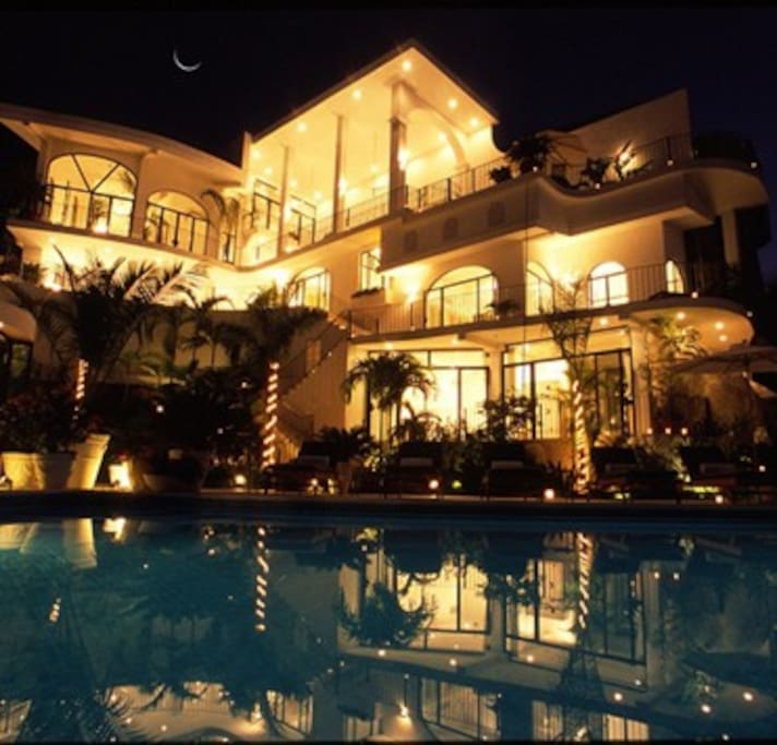 Casa Valerie at night. Casa Valerie Luxury Villa Rental in Puerto Vallarta Mexico.