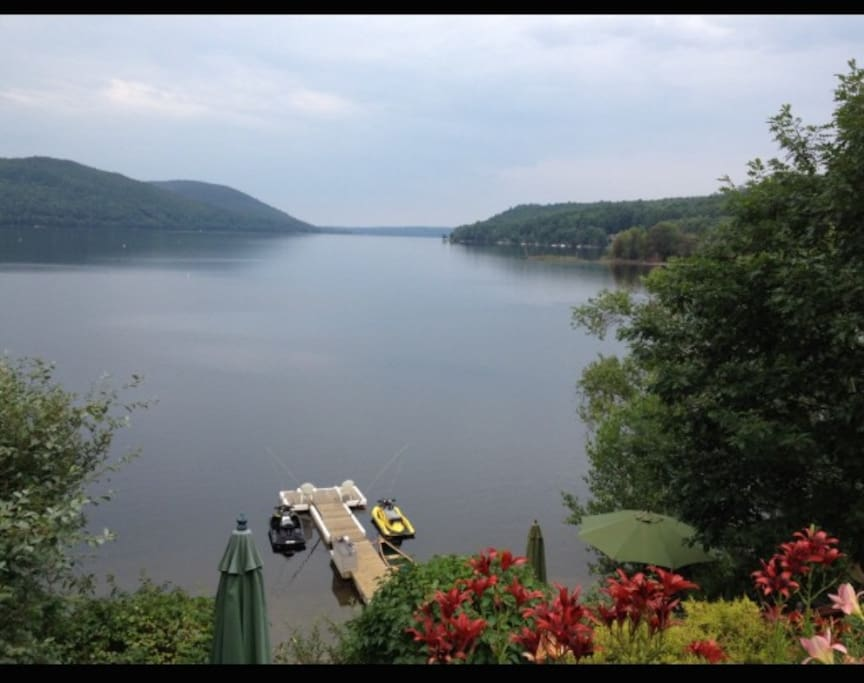 The View from the Deck out to Great Sacandaga Lake and our 60' Dock.