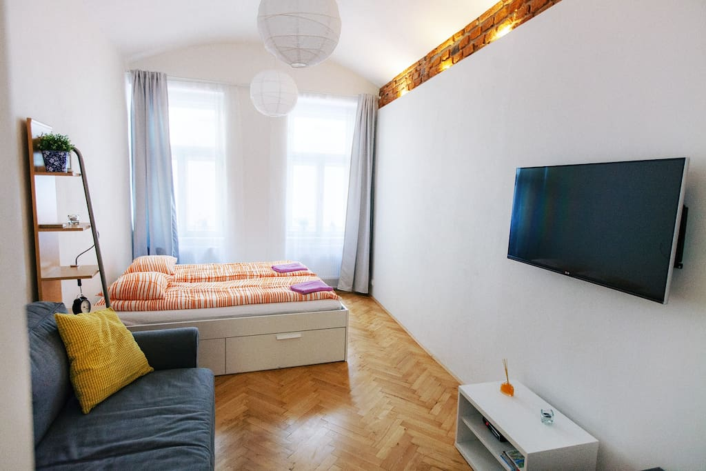 Large comfortable bed, sofa, cable TV
