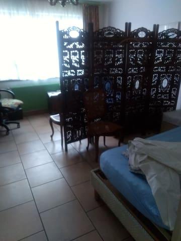 une pièce  avec deux lits dans appart de 3 pièces