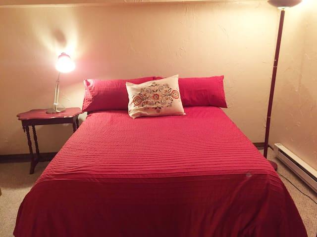 Basement bedroom with a Queen bed