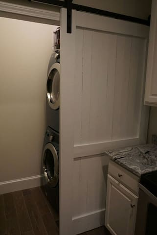 Stack washer and dryer.