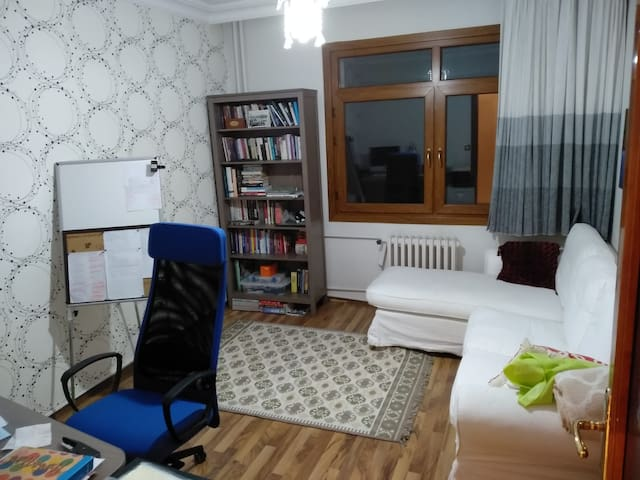 This is my workplace as a freelancer. The room you will stay is the next room. Extra guests can use the white couch.