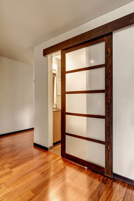 Shoji-style doors for the bedrooms and bathroom.