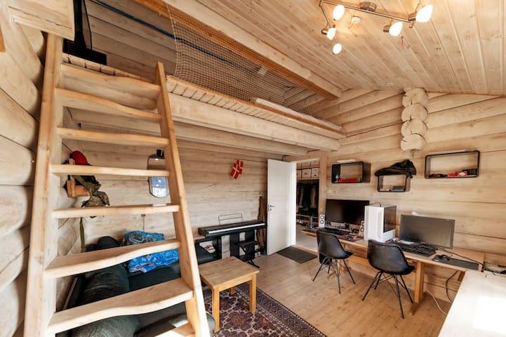 Værelse med hems. På hemsen er soveplads til to (150x200cm). Sofaen er ikke så stor men man sover udmærket på den...