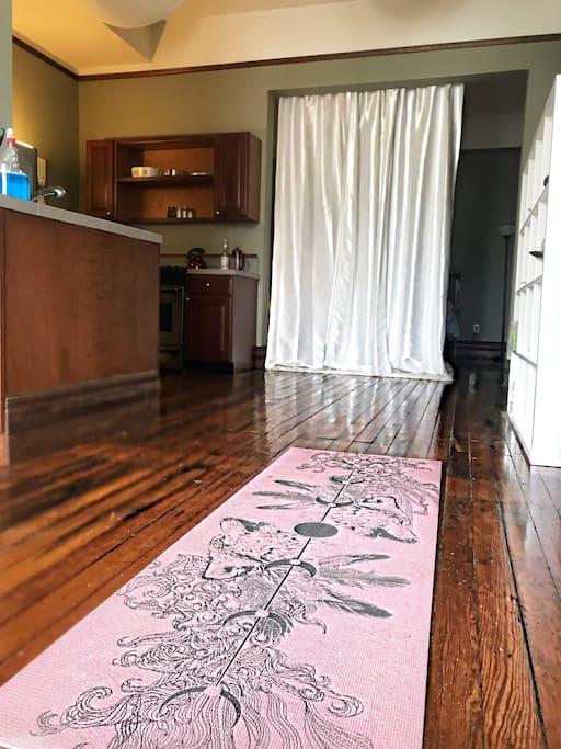 Yoga matt and kitchen are.