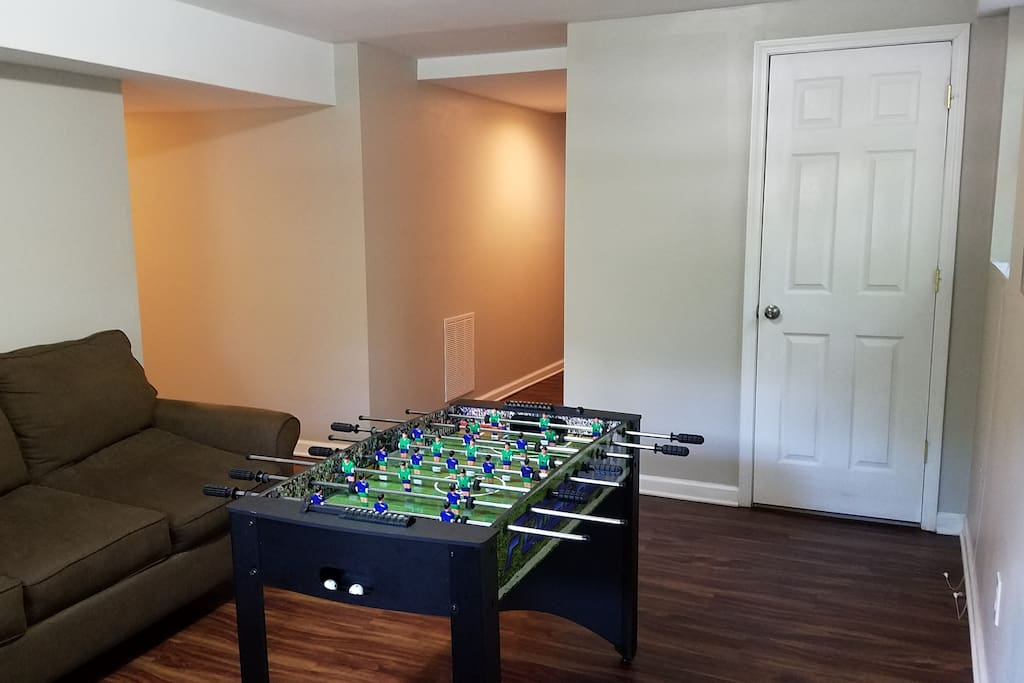 Foosball Table in Finished Basement